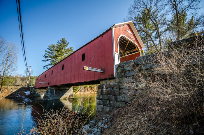 12. This red bridge in Swanzey embodies old fashioned New Hampshire.