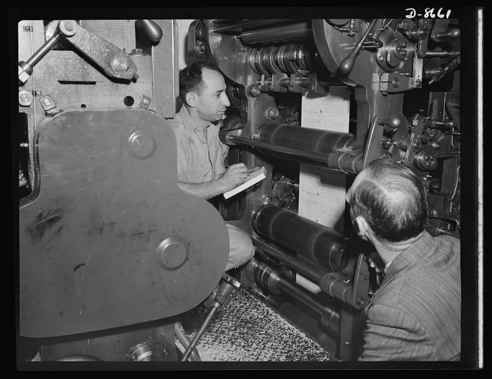 2. The machinery in a Hoboken plant used to print WWII ration books, 1942.