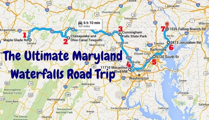 The Ultimate Maryland Waterfalls Road Trip - California waterfalls map