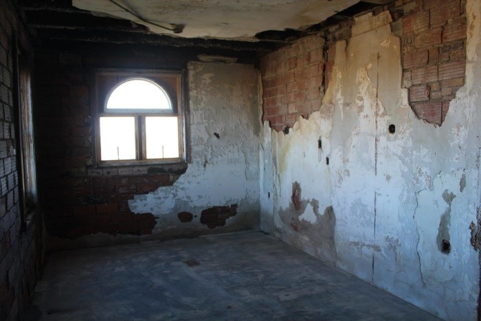 5. Remodeling was a huge chore because, in addition to being in terrible disrepair, it had been heavily vandalized over the years. A former owner planned to renovate the building and turn it into a residence, but the constant vandalism proved too difficult to stop.