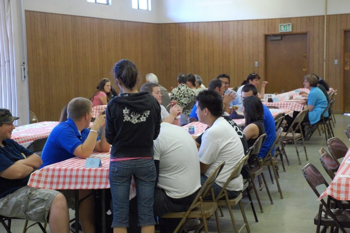 2. Go to a big community pancake breakfast put on by a church.