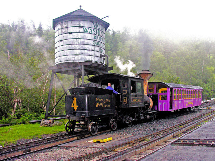 The Cog Railway on Mount Washington operates from April to November, taking visitors on a three-hour tour to the summit of the tallest peak in New England, and back down to the base.