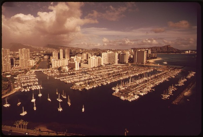 1. Honolulu Harbor, as photographed in 1970.