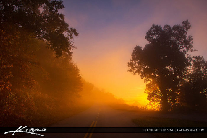 3. A colorful, foggy morning on the Blue Ridge Parkway.