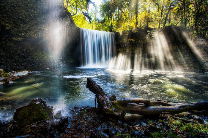 19. Flowing curtains of water and sunlight at the beautiful Beaver Falls.