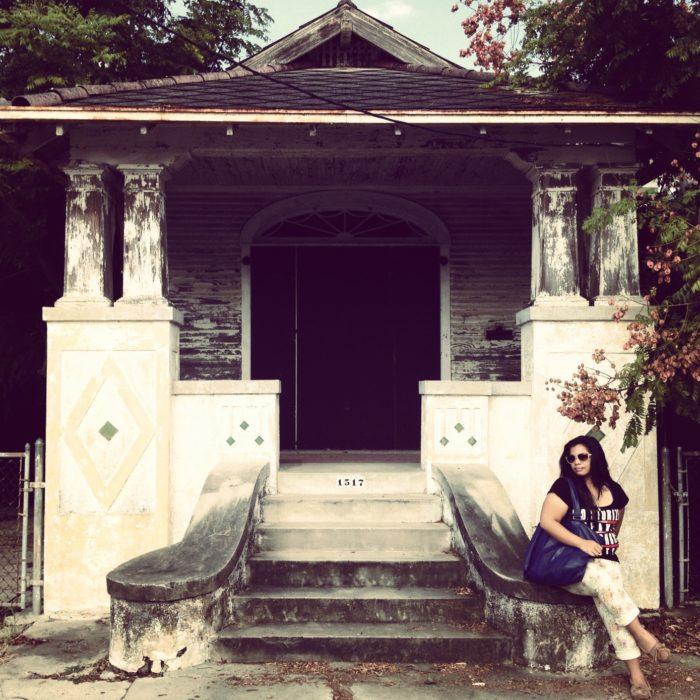 2) Girl on steps