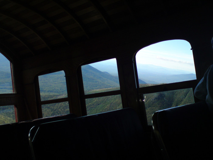The view from the cabin shows just how steep the climb is. In fact, the Cog Railway's track is the second steepest in the world, with an average grade of 25% and a maximum grade of 37%.