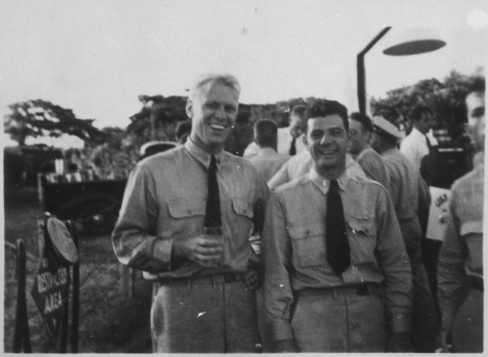 11. A photograph of Lt. Gerald R. Ford and LT. W.E Delaney at the Ford Island Tennis Club for the Farewell Party for Air Group Thirty on May 12, 1944.