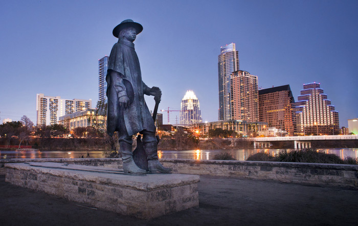 2. That view of the Austin skyline with Stevie Ray Vaughn.