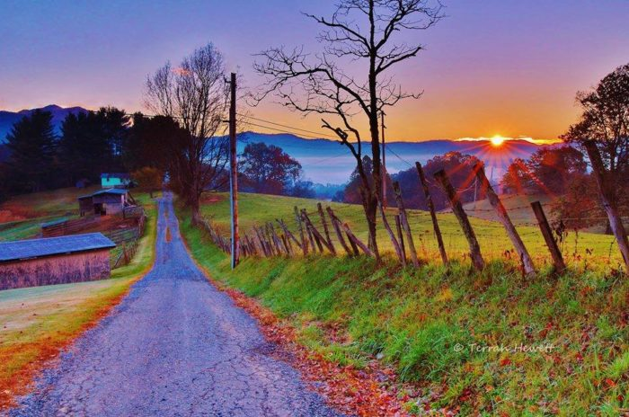 10. The sun rises along country roads beckoning a new day. Looks so peaceful!