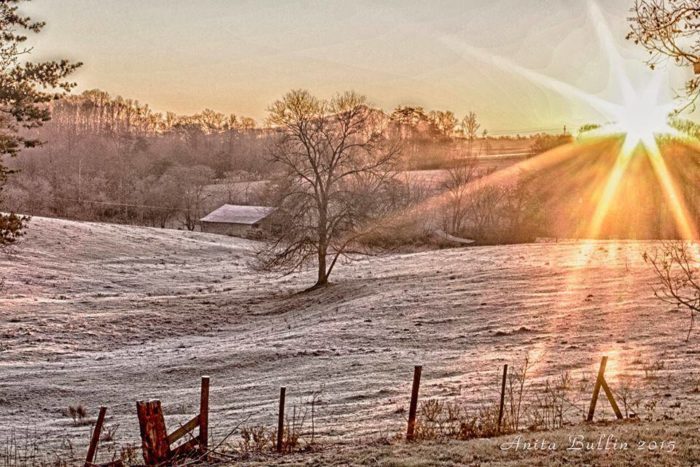8. A breathtaking snow sunrise, a great way to wake up in Surry County.