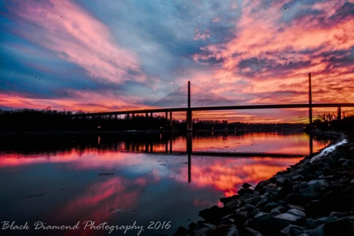 10. A technicolor sky lights up the dusk over the Roth Bridge north of St. George's.