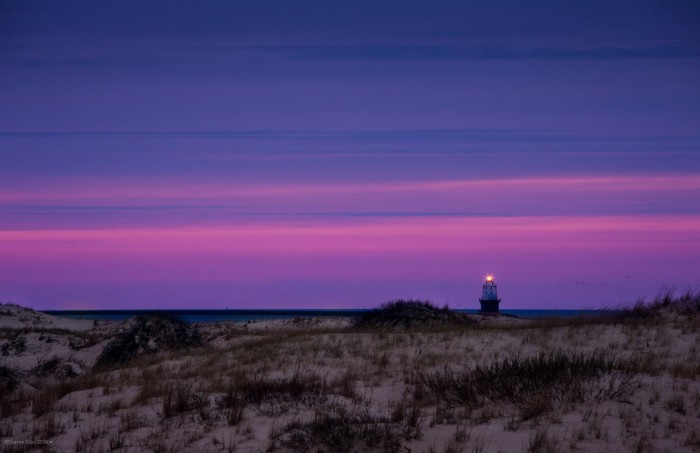 5. On an amazing evening the sunset lights the entire sky pinks and purples, even looking east out towards the Atlantic Ocean from Cape Henlopen.
