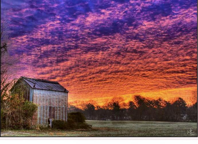 7. A gorgeous sunset scene right outside of Kinston has me dreaming of a view like this down a long country road!