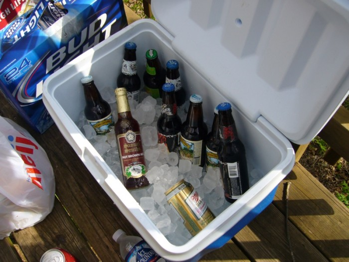 3. To cool down your beer quickly, fill your cooler with ice, water, and plenty of salt. The ice will melt faster, but your beer will be about thirty degrees in five minutes.