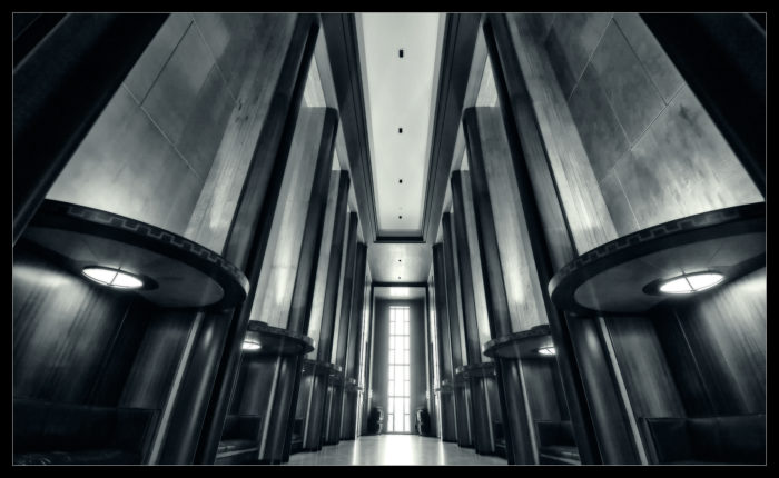 2. This may look like an alien city interior, but it's actually taken in the Legislative Hall in Bismarck.