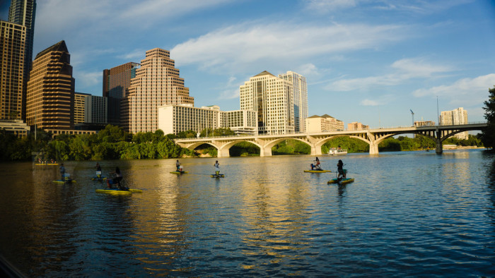 10. The view of the Austin skyline from being on the lake.
