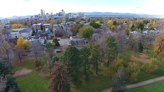 10. Droning above City Park with a lovely view of downtown and a glimpse of the (not so far off) mountains.
