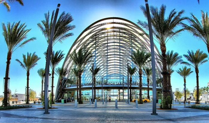 7. The architecture in Southern California shows off the beautiful structures that exist here in America. Pictured here is the Anaheim Regional Transportation Intermodal Center.