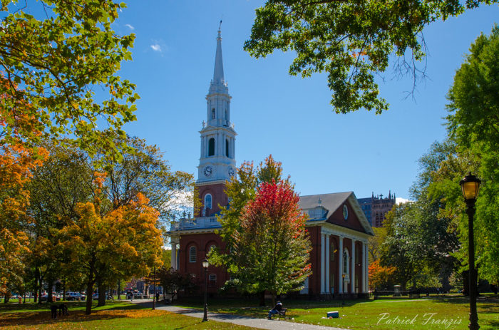 15. Sitting on the New Haven Green, the view of nature colliding with the church is too good to pass up.