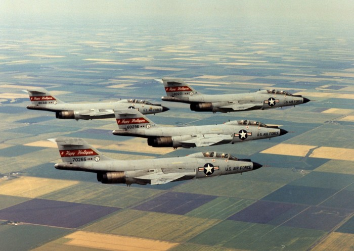 3. 178th Fighter-Interceptor squadron of the North Dakota Air National Guard fly over North Dakota - 1975