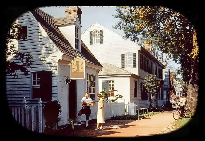14. Bootmaker's shop in colonial Williamsburg (1953)