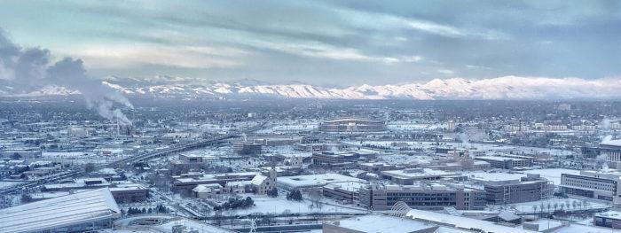 13. A fresh blanket of snow over Denver, as seen from The Regency Lounge on the 35th floor of the Hyatt Regency Denver downtown.