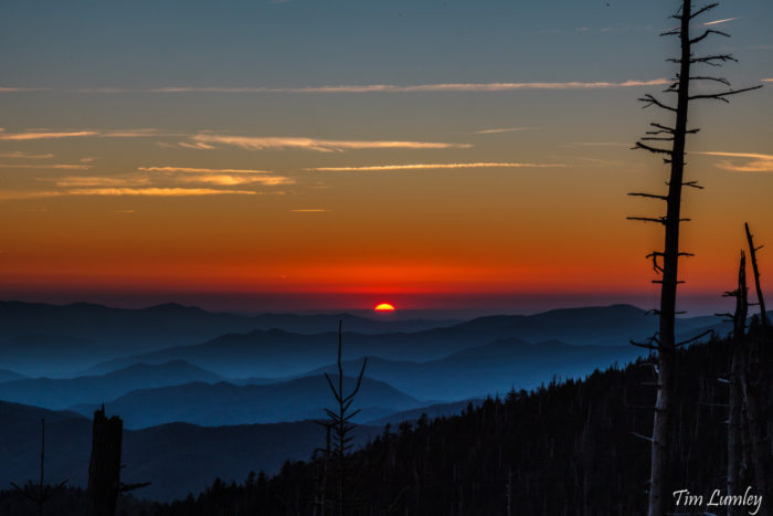 7. They don't call them the Blue Ridge Mountains for no reason; this Clingman's Dome sunset proves that.