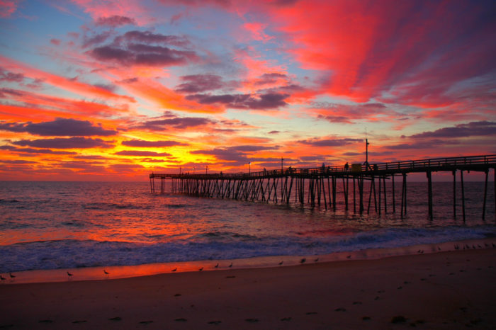 4. A breathtakingly colorful sunrise and the Avon Pier.