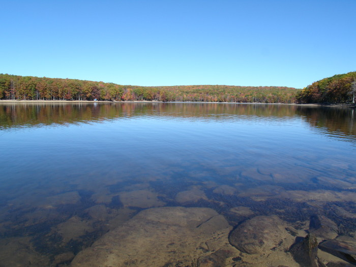 2. Grand lakes like the pictured Deep Creek Lake, are popular places for fishing and swimming.