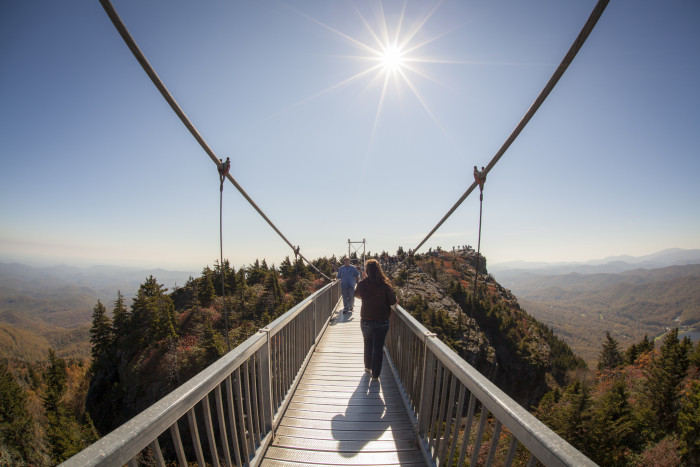 7. Couples who conquer adventures together, stay together...a good start is walking across the Mile High Swinging Bridge at Grandfather Mountain.