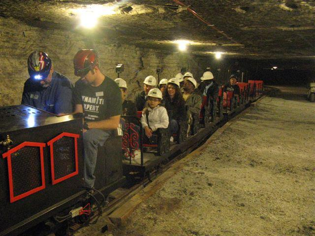 3. The Salt Mine Express, which travels underground on rails left behind from the early mining days, formerly operated at the Hutchinson Zoo and was converted to run on electricity.