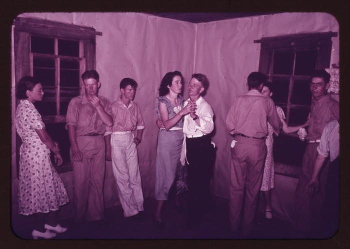 18. A round dance between squares in McIntosh County, Oklahoma. Young people during this time had far fewer options for socialization than they do today. (1939)