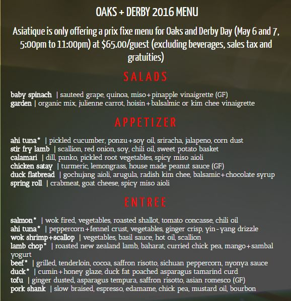 7. The menu offers several different dining styles.