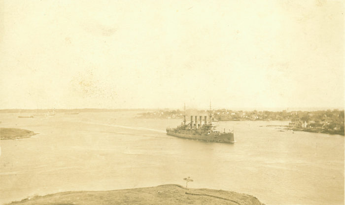 11. The USS North Carolina coming in to Portsmouth Harbor in 1911.