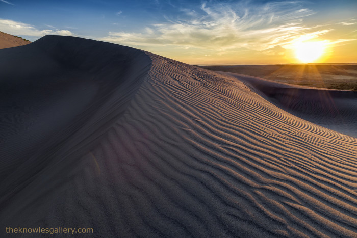 16. Every detail of the Bruneau Sand Dunes are highlighted by the setting sun in this photo.