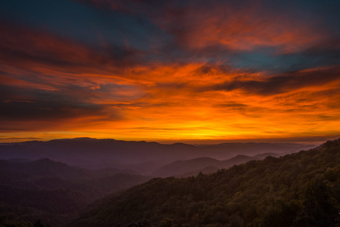 12. The Blue Ridge Mountains exploding in color as a new day begins.
