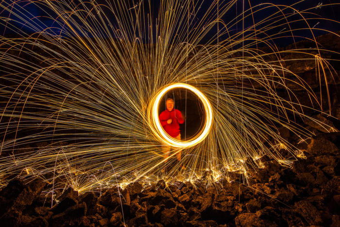 8. This man paints with light at Craters of The Moon...and looks very happy about it.