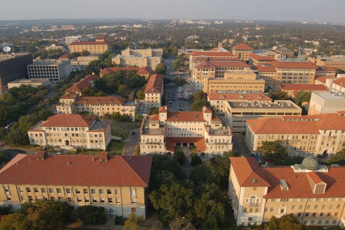 2. An aerial shot of the University of Texas campus.