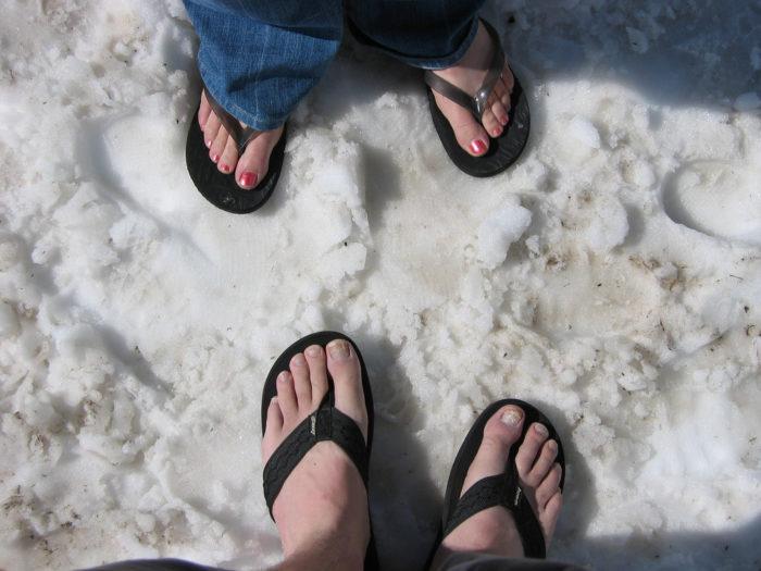 7. We often have a hard time choosing appropriate footwear.