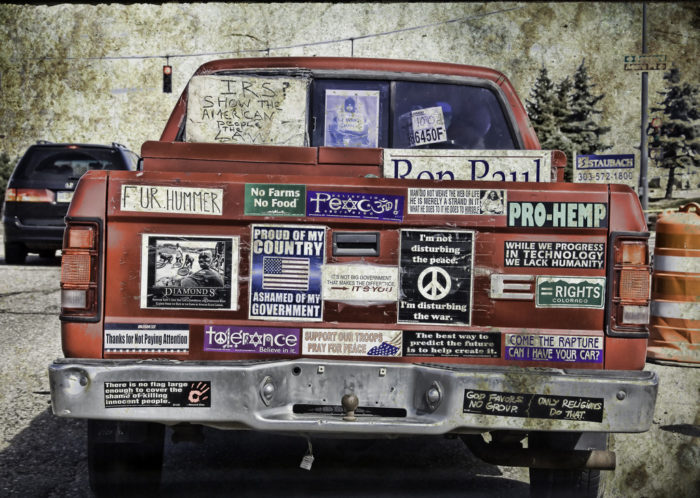 9. We've got a lot of opinions, and we proudly plaster them on our cars.