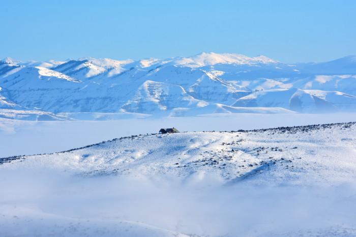 17. The beautiful Wallowa Mountains: a winter wonderland.