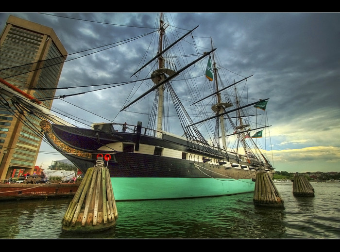 1. This photo of the USS Constellation in Baltimore, has the Pirates of the Caribbean song stuck in my head.