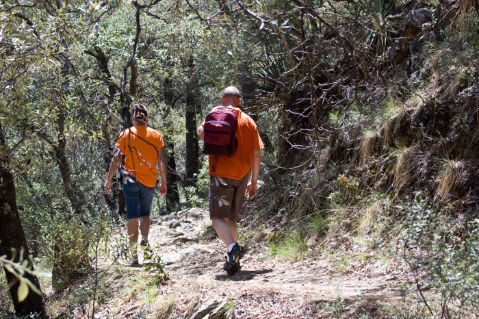 2. Hiking during hunting season without the proper brightly-colored clothes