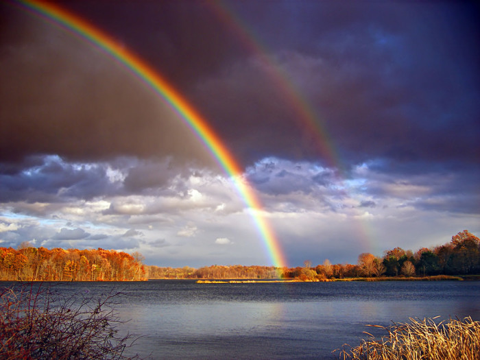 10. A double rainbow over the gorgeous Minsi Lake.