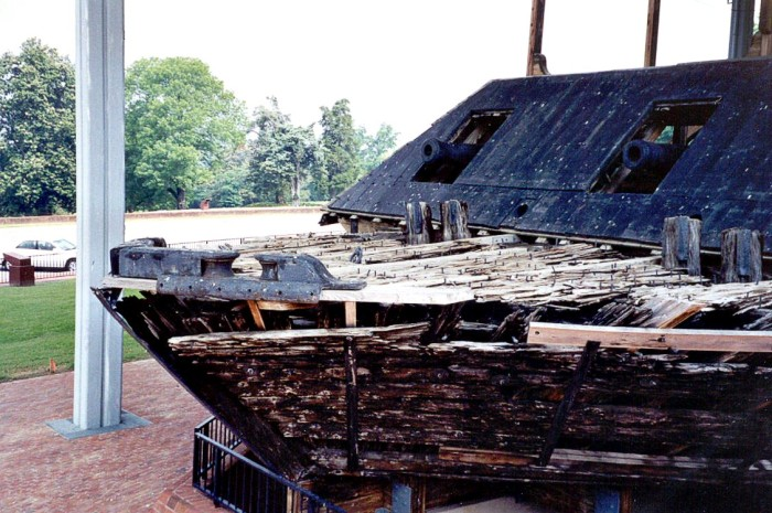 3. In 1977, the gunboat USS Cairo was transported to the park and partially reconstructed. It was at this time that numerous artifacts were recovered, which included weapons, munitions, naval stores, and personal gear of the soldiers who served on board.