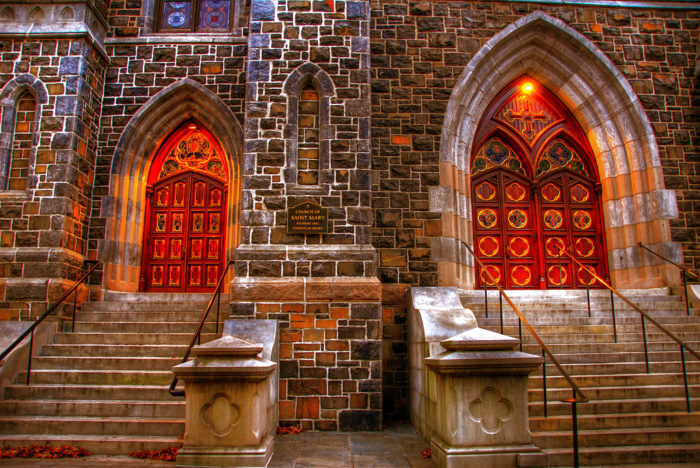2. The doors to the Church of St. Mary in New Haven beckon you to come inside.