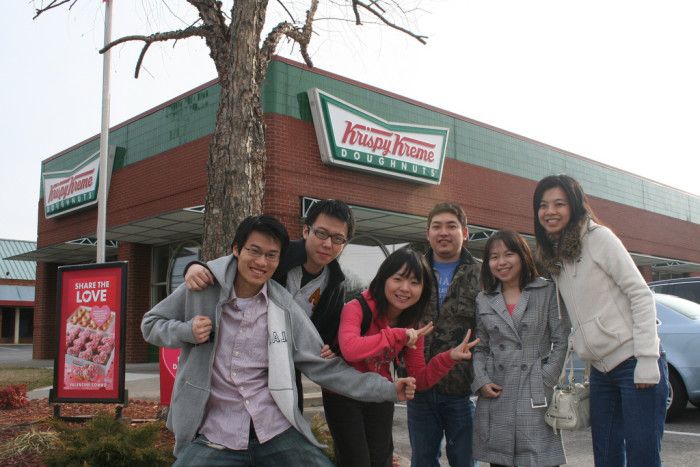 1. They take pictures in front of the Krispy Kreme, especially the one in Winston.