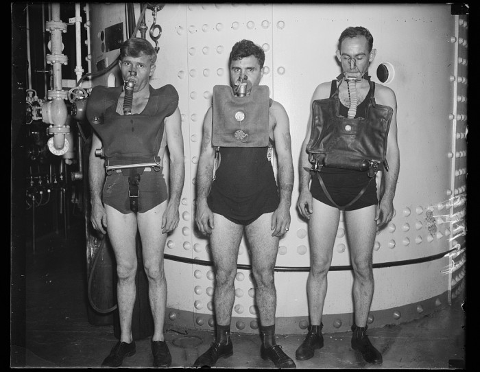 16. Underwater breathing devices being tested. Though the country was facing hard times, scientific progress forged onwards. (1935)