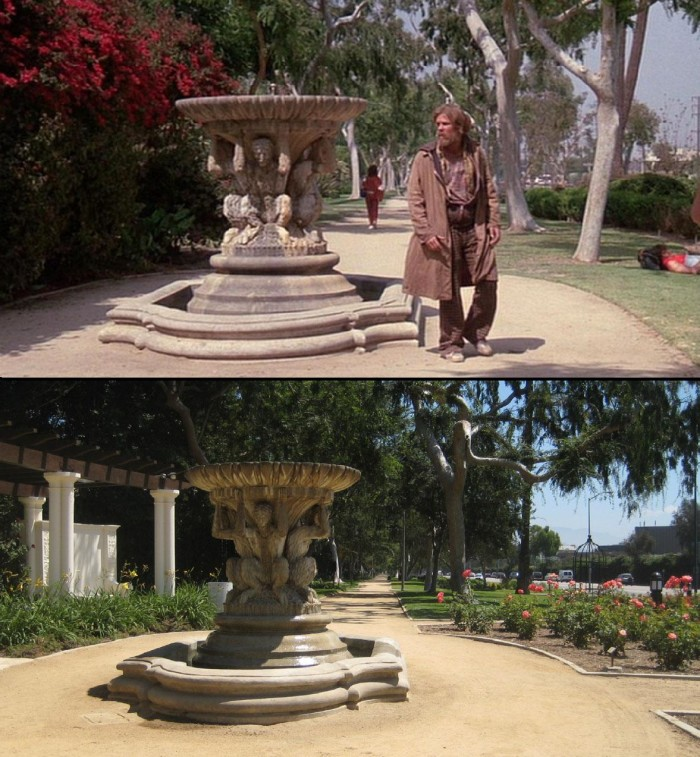 """9. Do you recognize this fountain from the movie """"Down and Out in Beverly Hills"""" with Nick Nolte? This was filmed on Santa Monica Boulevard in Beverly Hills."""